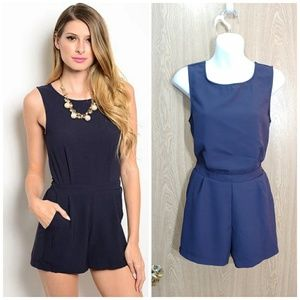 NWT navy blue romper with pockets
